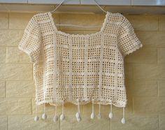 Crochet Top Crop color natural blusa corta de la Mujer Hippie Ropa [CTW65] - $ 35.00: Tina ganchillo de estudio, Moda Aniversario Regalos para ella ganchillo hecho a mano de las mujeres de Bohemia accesorios
