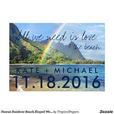 ハワイの虹のビーチは発表結婚式の駆け落ちしました 12.7 X 17.8 インビテーションカード
