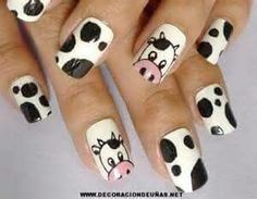 Cow nail art design, I love cows! Animal Nail Designs, Animal Nail Art, Cute Nail Designs, Nexgen Nails Colors, Nail Colors, Cute Acrylic Nails, Cute Nail Art, Nail Art Motif, Cow Nails