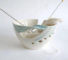 Wheel thrown pottery Yarn Bowl, KNITTING Bowl Fresh Autumn Fall White  | BlueRoomPottery - Knitting on ArtFire