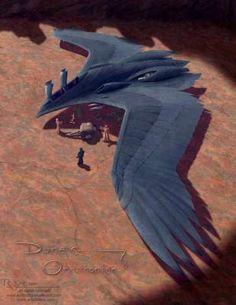 Arte e ilustraciones de Dune Ornithopter of Arrakis -Dune books sci fi; Concept Ships, Concept Art, The Raven, Space Opera, Starship Concept, Spaceship Art, Sci Fi Ships, Science Fiction Art, Science Space