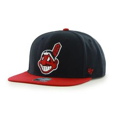 reputable site 887dc ea04b Cleveland Indians Sure Shot Two Tone Captain Navy 47 Brand Adjustable Hat