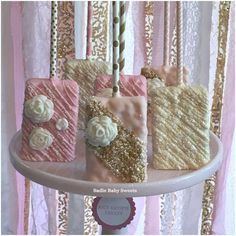 Rice Krispie treats at a carousel baby shower party! See more party planning ideas at CatchMyParty.com!