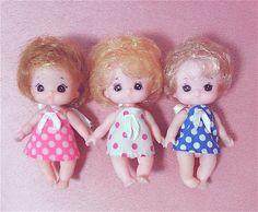 Licca chan sibling triplets, Takara Japan, baby mini doll lot, rare vintage 80s❤