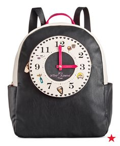 Dial up the style with this fab faux-leather backpack with a fun decorative clock. Get this Betsey Johnson backpack at Macy's!