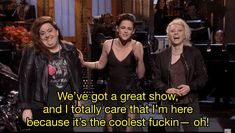 "Basically, Stewart was nearing the end of her monologue, and, in what could have been a moment of excitement or just sheer relief that her monologue was over, she accidentally made some changes to her lines. | Kristen Stewart Dropped The F-Bomb On ""SNL"" And Kate McKinnon's Reaction Is The Best Part"