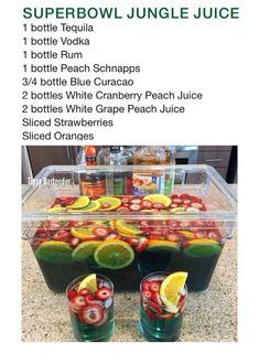 super bowl party food Super Bowl Margarita Jungle Juice Recipe - Super Bowl Margarita Jungle Juice Re. Party Drinks Alcohol, Alcohol Drink Recipes, Liquor Drinks, Cocktail Drinks, Beverages, Alcohol Games, Alcohol Shots, Alcoholic Candy, Halloween Alcoholic Drinks