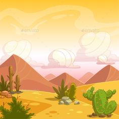 Cartoon Desert Landscape by Lilu330 Cartoon desert landscape with cactuses, stone, sand dunes and cloudy sky. Square vector outdoor illustration. Background for game