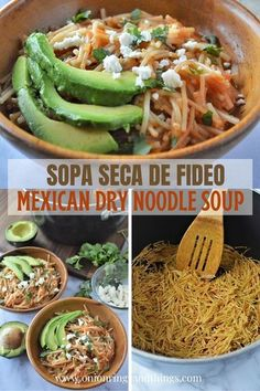 "Sopa Seca de Fideo made with thin Fideo noodles cooked in fresh tomato sauce and broth. Topped with crumbled cheese, avocados, and cilantro, this Mexican ""dry"" soup is a hearty and filling casserole the whole family will love! #mexicanfood #pasta #comfortfoods #casserole #budgetmeals #easymeals"