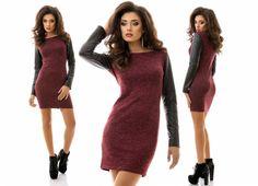 Короткое облегающее стильное платье с кожаными рукавами бордовый меланж