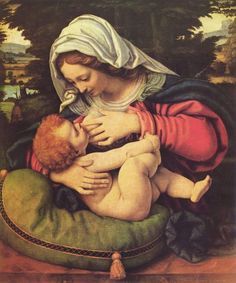 La madone au coussin vert. -Andrea Solario. Would love a print of this! Such a beautiful image of Mary feeding her son.