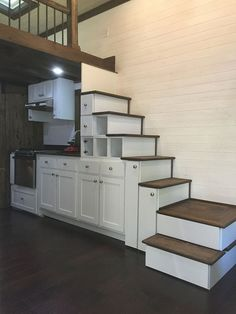 Tiny houses are really trendy for a low cost and low maintenance living space. Look at how organized and efficient these stairs are to the loft. Beautiful homes brought to you by http://skinbyradiance.com <3