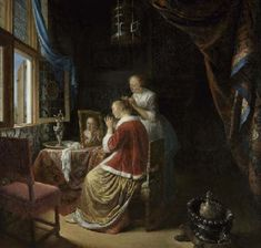 Gerrit Dou, A young woman at her toilet (1667). Oil painting of a 17th century woman being preened in front of a mirror in a bedroom