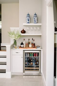 The designer also carved out room for a built-in bar area.