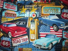 RT 66 DINER CARS LICENSE PLATES MOTEL SIGNS BLACK COTTON FABRIC FQ #TimelessTreasuresFabric