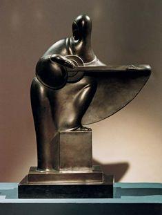 "Victor Brecheret. ""Tocadora de Alaúde"". Bronze patinado. Década de 1920 (final)"