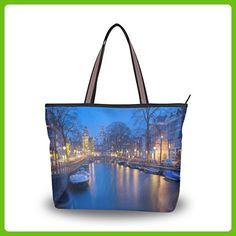 Yochoice Handbag The Night Of Amsterdam,Large Shopping Handbag School Book Tote Bag