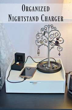 Say Goodbye to messy nightstands with cables strewn around. This easy 15 minute DIY project is the answer to a more organized charging solution.