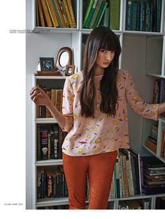 Burnt orange denim with blouse
