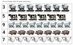 Zet een streepje onder het goede aantal dieren [kleutergroep.nl]