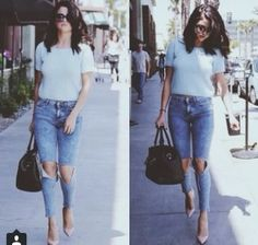 Selena Gomez blue sweater, ripped skinniest, and heels