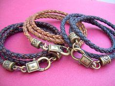 Premium Triple Wrap Leather Bracelet Mens by UrbanSurvivalGearUSA, $24.99