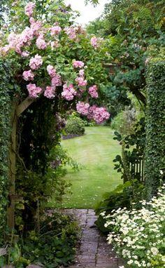 Rose Garden Arbor with Climbing Roses garden landscaping ideas and decor ~ Linda Viney Garden Doors, Garden Gates, Garden Arbor, Garden Entrance, Garden Arches, Side Garden, Garden Trellis, Garden Table, Beautiful Gardens