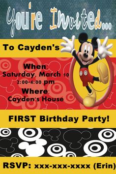 Mickey Mouse Birthday Invitation $5 {Made to order digital file}