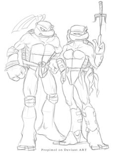 Olivier and Maolier by propimol on DeviantArt Disney Drawings, Art Drawings, Ninja Turtle Drawing, Ninja Turtle Coloring Pages, Tmnt Characters, Monster Girl Encyclopedia, Tmnt Girls, Nickelodeon, Teenage Mutant Ninja Turtles