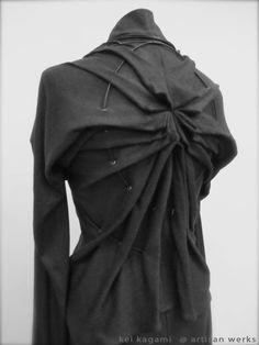 Pleated Spiral Back - innovative pattern cutting; fashion design detail; creative sewing; fabric manipulation // Kei Kagami