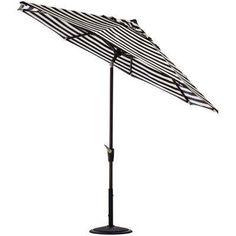 6 ft. Aluminum Auto Tilt Patio Umbrella in Sunbrella Maxim Classic with Black Frame