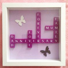 Anniversary Boxframe Purple Family Butterfly Scrabble Tiles Letters