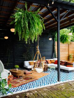 Bohemian Patio, Modern Bohemian, Bohemian Decor, Bohemian Design, Bohemian Style, Outdoor Tiles, Outdoor Flooring, Outdoor Decor, Outdoor Living