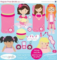40% OFF SALE sleepover clipart for scrapbooking, commercial use, vector graphics, digital clip art, images, slumber party - PGCLPK521. $2.97, via Etsy.