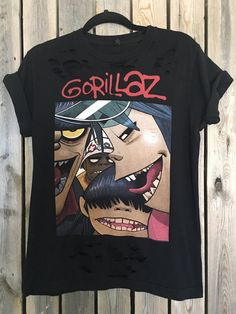 Gorillaz grunge with holes size XL soft grunge, hippie, concert wear, band clothes, rock shirt