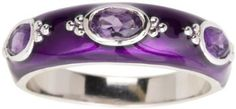 Sterling Silver Amethyst with Purple Enamel