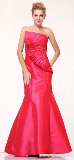 Taffeta Coral Prom Dress Mermaid Long Strapless Fan Pleated Bodice Beading $147.99