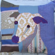 Flash the Whippet cushion, made with a combination of vintage and upholstery fabrics.