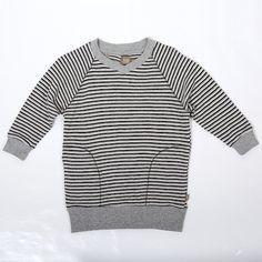 Kidscase Oliver organic dress - Super soft sweater dress in grey stripe. Sale price £17.50 + Free P&P
