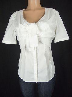 AQUILANO RIMONDI Top Size 44 10 M White Tiered Bow Front Career Cotton Blouse #AquilanoRimondi #Blouse #Career