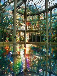 Kimsooja's Room of Rainbows in Crystal Palace Buen Retiro Park, Madrid, Spain.