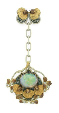 "AN ART NOUVEAU ENAMEL, OPAL AND GOLD ""SWEET PEA"" PENDANT BROOCH, BY RENE LALIQUE  Suspending a detachable openwork plaque, centering upon an oval cabochon crystal opal within a peach, brown, blue and pale green enamel sweet pea cluster surround, with a bluish green plique-à-jour enamel background, from a pale green enamel and gold link chain, to a smaller sweet pea cluster surmount, mounted in gold, circa 1900.   Signed Lalique for René Lalique"