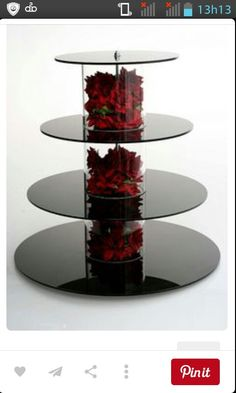 cupcake stand with red silk roses.You can find Cupcake towers and more on our website.cupcake stand with red silk roses. Cake And Cupcake Stand, Cupcake Towers, Cupcake Cupcake, Cake Stands Diy, Black Cake Stand, Cupcake Display, Cupcake Ideas, Black Cupcakes, Cupcakes Base