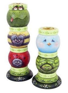 Candlestick Critters by Chris Haughey Candlestick Crafts, Painted Candlesticks, Clay Pot Crafts, Diy Crafts, The Joy Of Painting, Tole Painting Patterns, Block Craft, Painted Wine Glasses, Clay Pots