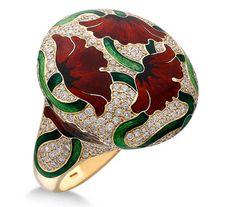 Ilgiz Fazulzyanov Poppy ring with enamel and diamonds