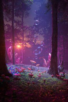 Fantasy Forest, 3d Fantasy, Magic Forest, Forest Art, Fantasy Places, Fantasy World, Witchy Wallpaper, Forest Wallpaper, 3d Landscape