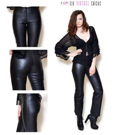 Leather Pants Black pants 90s pants Women Clothing Black leather sexy pants Vintage Pants Rocker Belly bottoms Trousers Size XS by SixVintageChicks on Etsy
