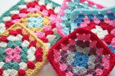 Pretty coloured granny squares @  Cherry Heart