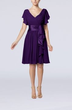 Plum Modest A-line Zip up Knee Length Pleated Wedding Guest Dresses - iFitDress.com