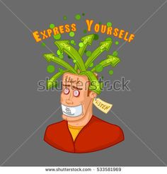 Emotional explosion of ideas. A man in search of ideas with an open head, silent not speak, listen. Cartoon, vector illustration, outline color.